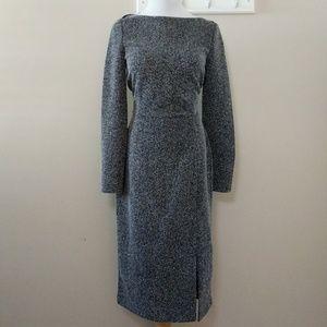 NWT Gray herringbone tweed midi pencil dress